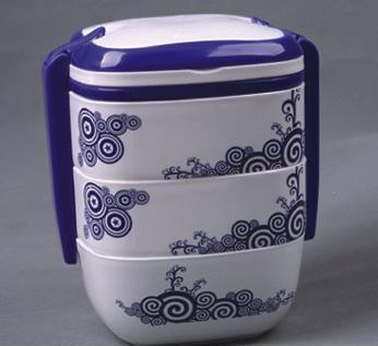 青花瓷三层饭盒 时髦便携式手提 微波炉保温饭盒