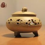 长沙铜官窑大师纯手工粗陶瓷香熏炉线香盘香塔香仿古香道
