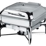 酒店用品自助餐炉方形全翻盖液压可视餐炉不锈钢高级布菲