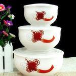 陶瓷保鲜饭盒三件套 微波炉适用保鲜碗 韩式保鲜碗 陶